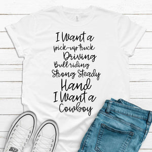 S - I want a cowboy White Shirt