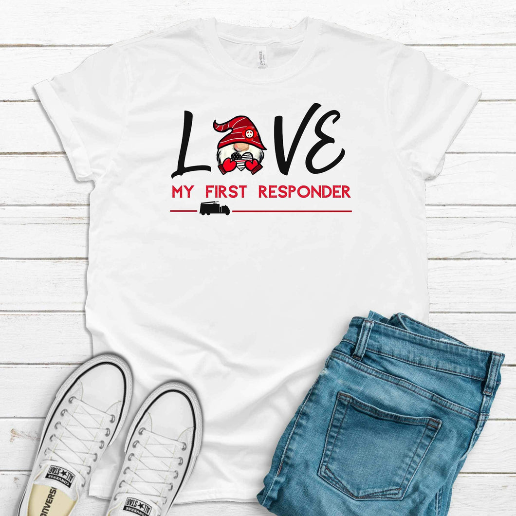Love My First Responder Fire T-Shirt - White
