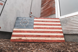 Vintage 1776 Betsy Ross Wooden Flag