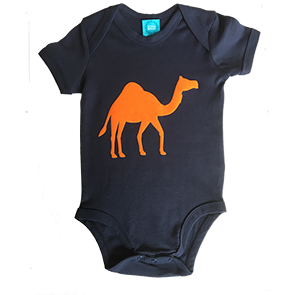Navy Onesie with Flock Orange Camel