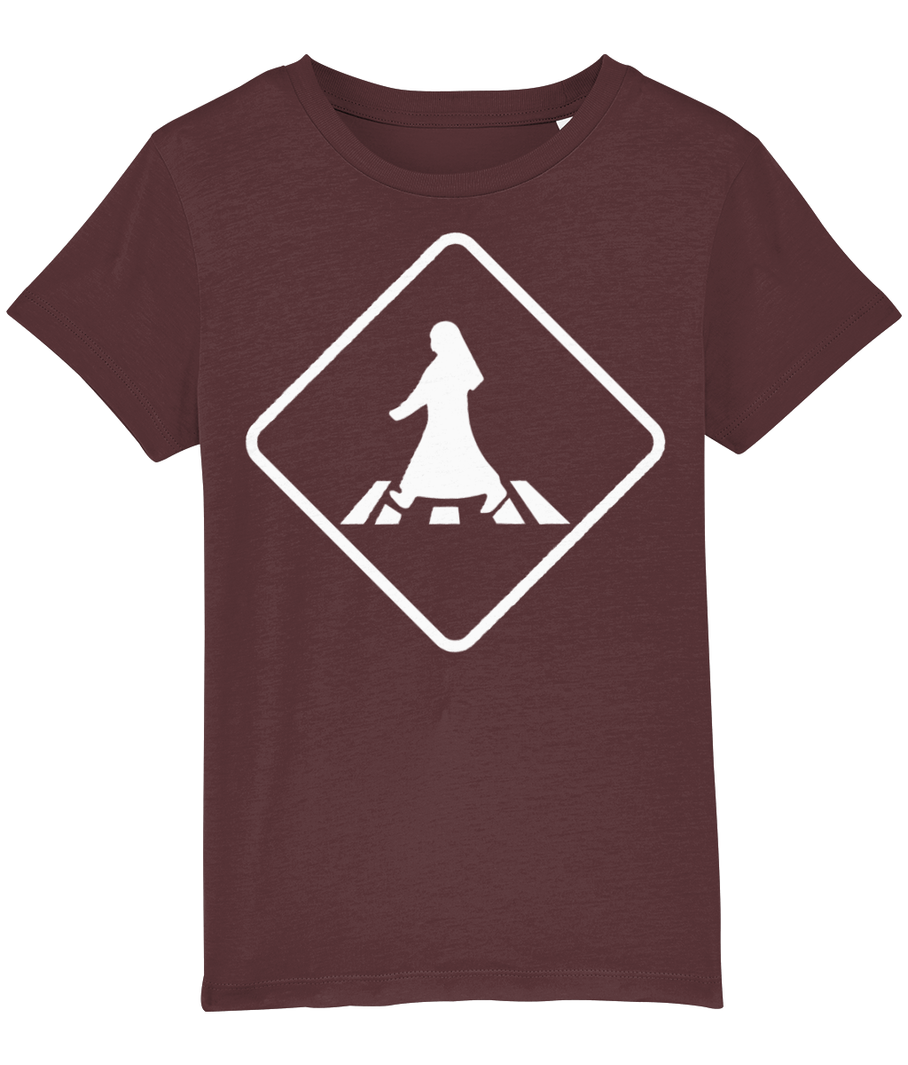 Pedestrian Crossing T-shirt for children in Maroon