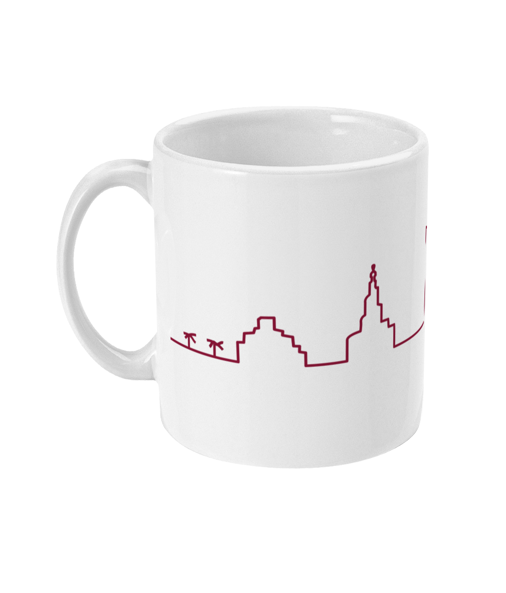 Skyline Mug with Maroon design (handle on left view)