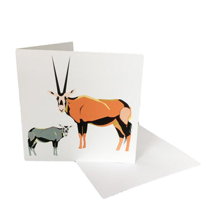Oryx and Calf Greetings Card and envelope