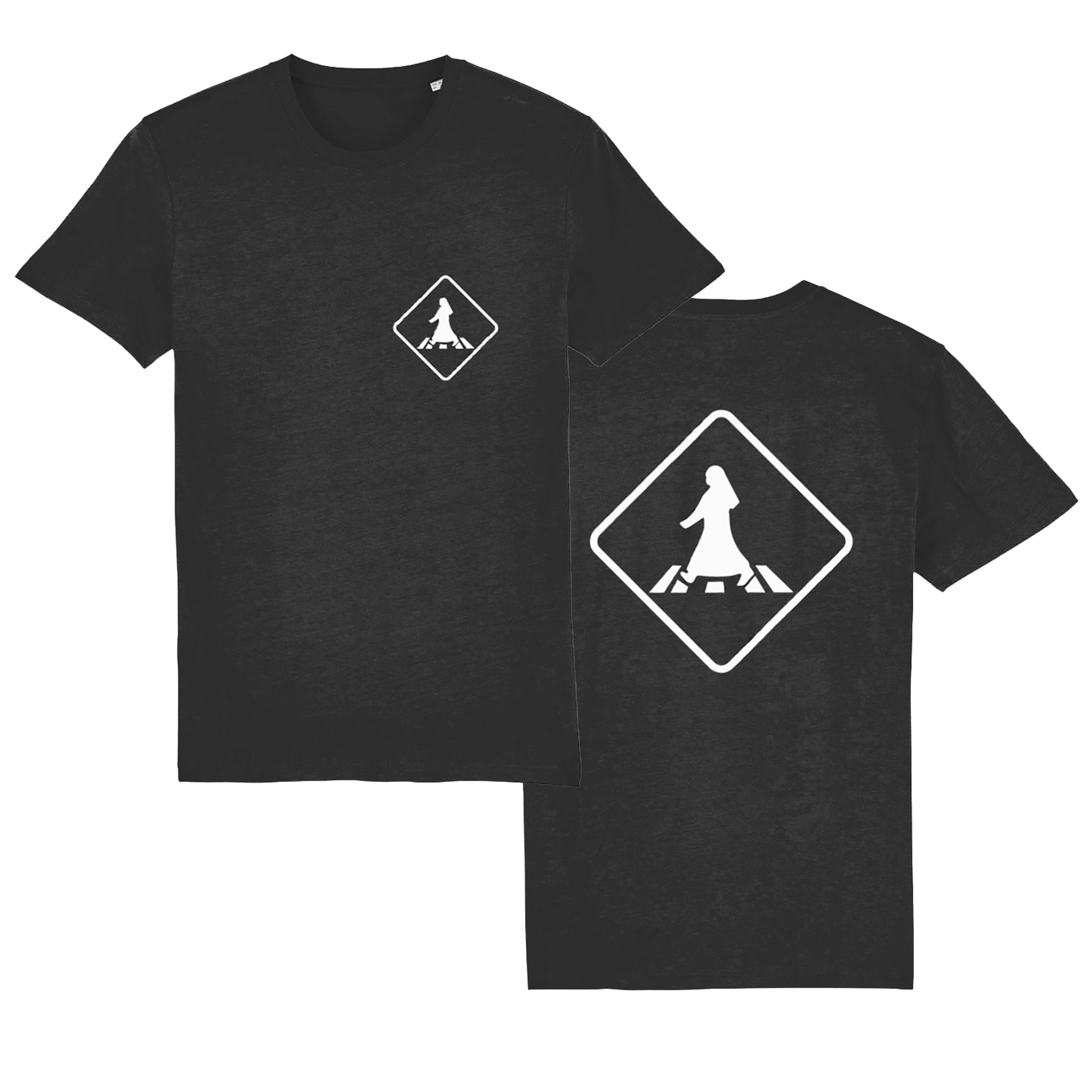 Pedestrian Crossing Unisex T-shirt front and back view in black