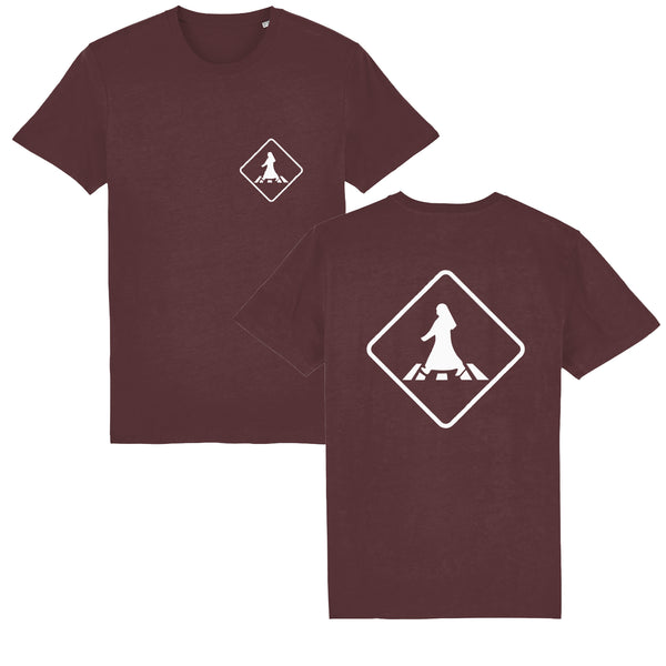 Pedestrian Crossing Unisex T-shirt front and back view in burgundy