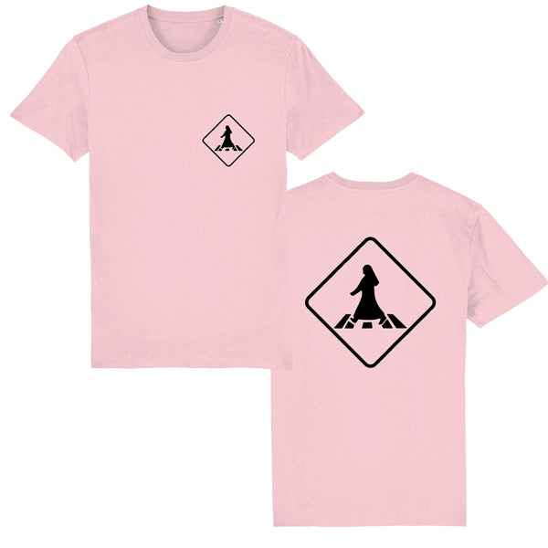 Pedestrian Crossing Unisex T-shirt front and back view in pink