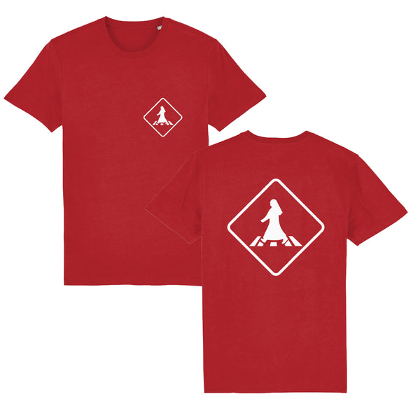Pedestrian Crossing Unisex T-shirt front and back view in red