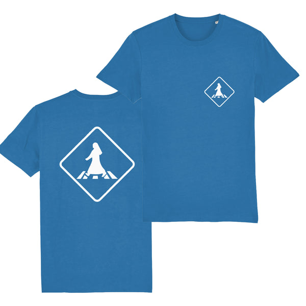 Pedestrian Crossing Unisex T-shirt front and back view in Royal Blue