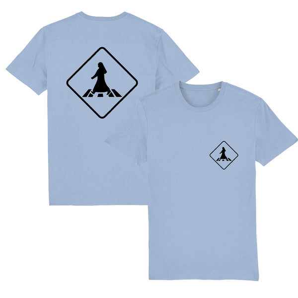 Pedestrian Crossing Unisex T-shirt front and back view in sky blue