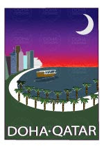 Watermarked Thumbnail of Corniche Illustration from Doha Designs