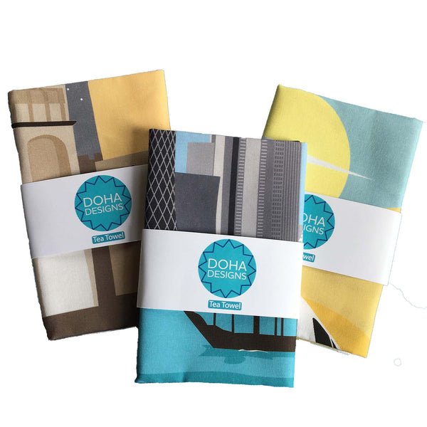 set of 3 Tea Towels Packaged
