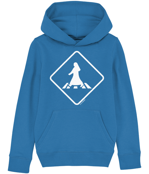 Child's pedestrian crossing hoodie from Doha Designs in blue