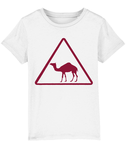 Camel Crossing t-shirt from Doha Signs Maroon Print on White Shirt
