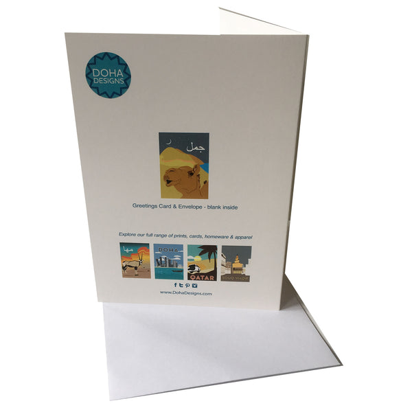 reverse view of Camel Greetings Card with envelope