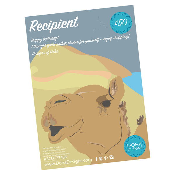 Gift Voucher Camel Design