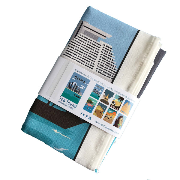 Doha tea towel in packaging reverse view