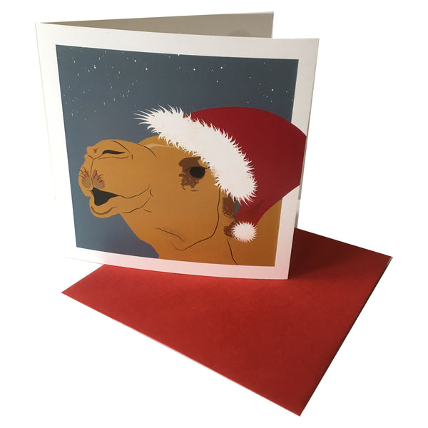 Festive Camel Card front view with coordinating envelope