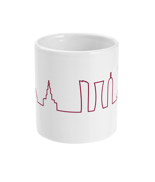Skyline Mug with Maroon design (central view)