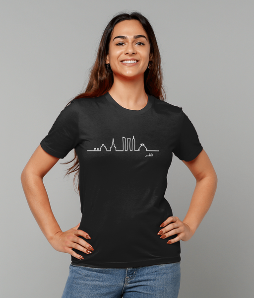 Skyline T-shirt in black on female model