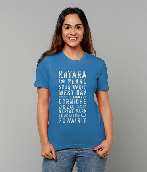 Subway t-shirt in blue on female model