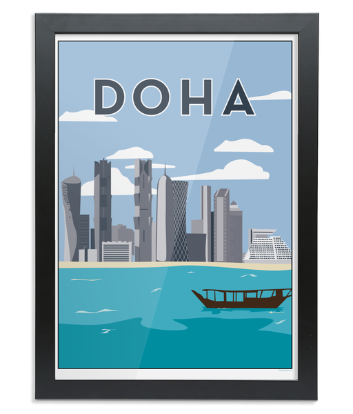 Doha Print in a black wooden Frame