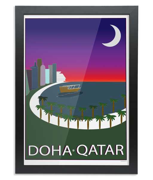 Corniche Print in a black wooden Frame