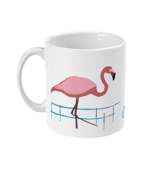 Flamingo Mug reverse can be personalised
