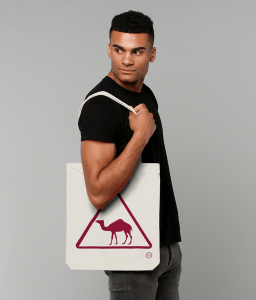 Camel Tote Bag in natural with male model