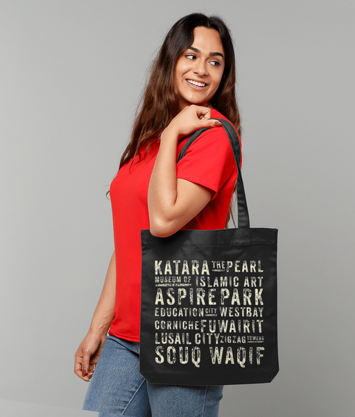 Subway design Tote bag carried by female model