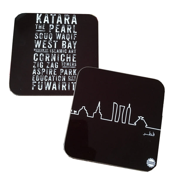 Monochrome coasters in Subway and Skyline designs