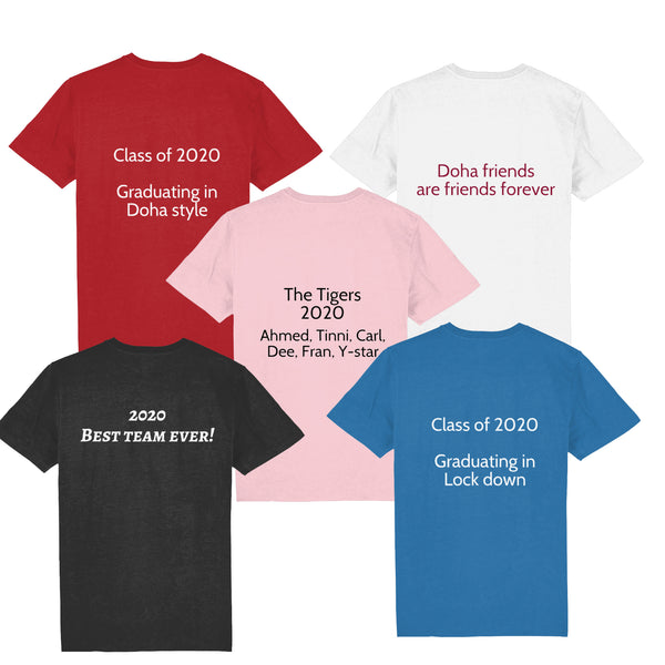 Examples of Personalisation on back of t-shirts