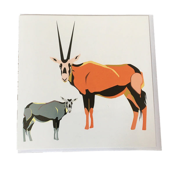 Oryx & Calf Greetings Card