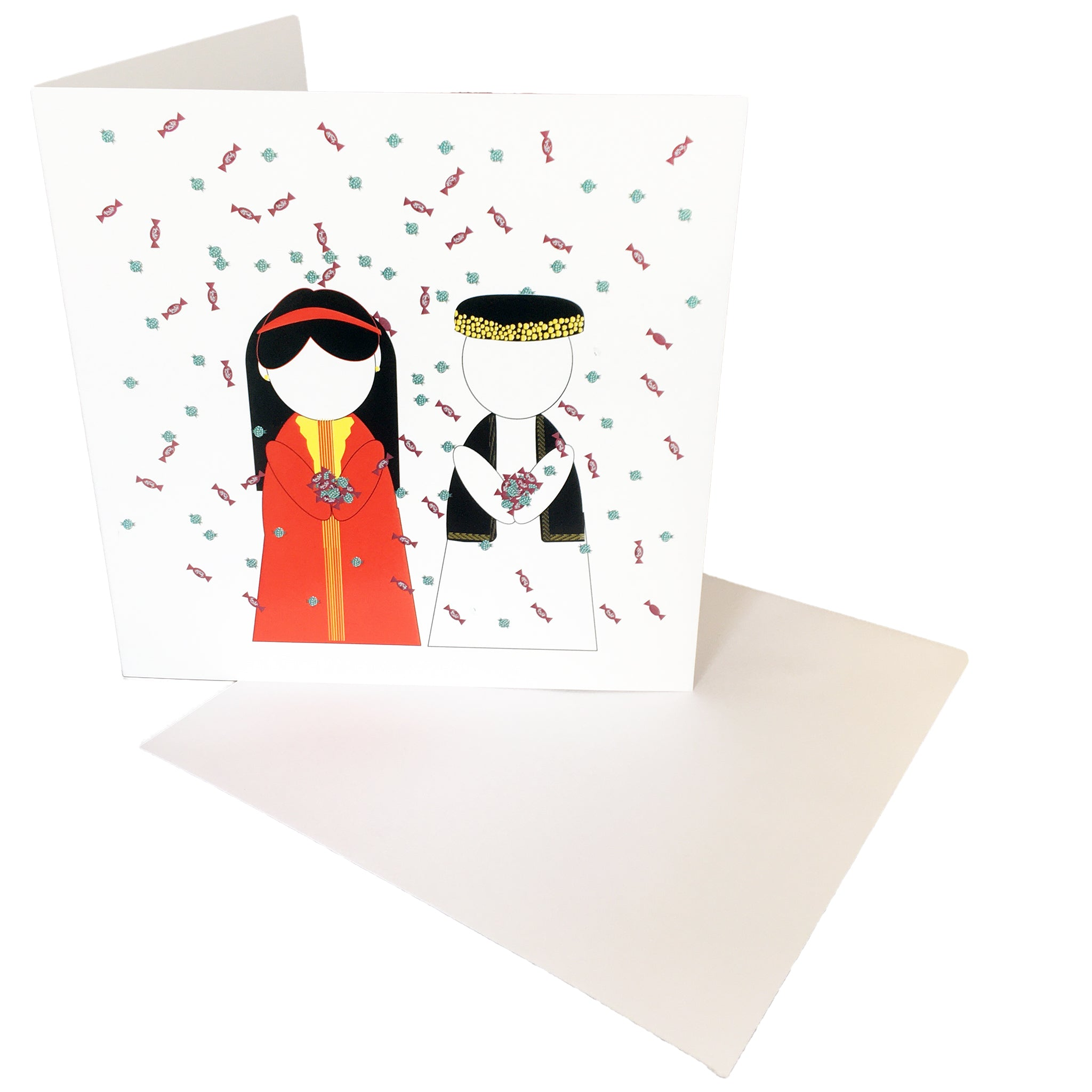 Party Greetings Card Front View with envelope