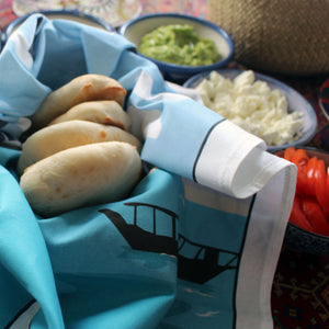 Doha Tea Towel with fresh homemade pitta breads