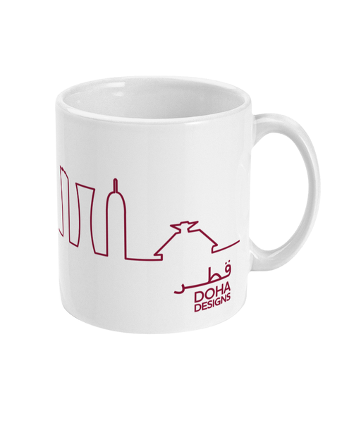 Skyline Mug with Maroon design (handle on right view)