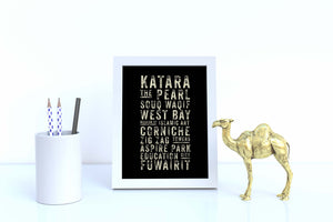 Subway Sign Style Illustration from Doha Designs displayed in frame on desk