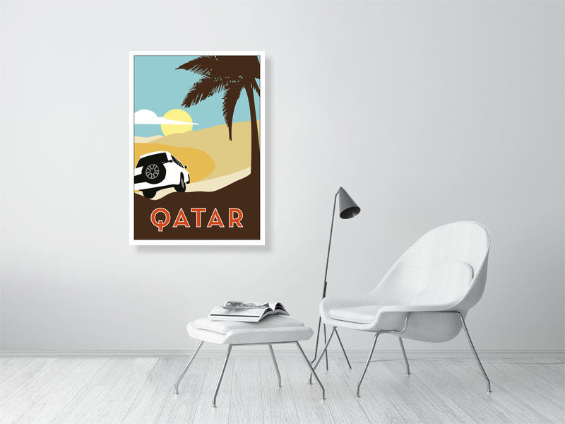 QATAR Illustration from Doha Designs displayed in frame