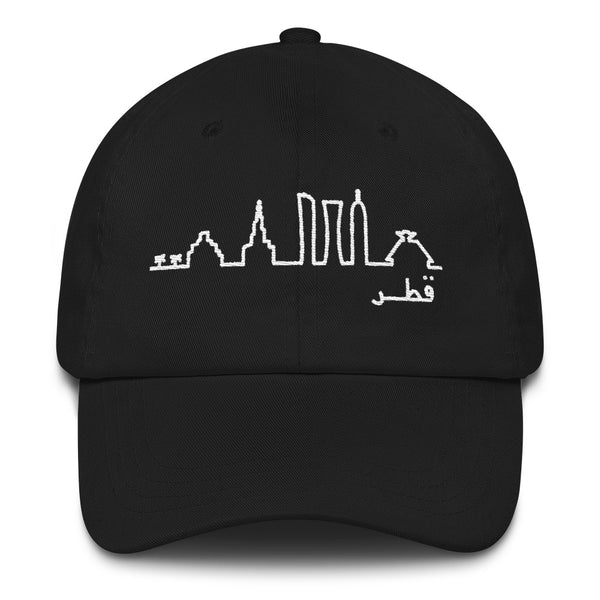 Black cap with white embroidery of abstract Doha skyline