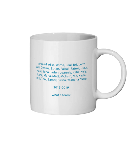 Personalised Mug with team names on 1 side