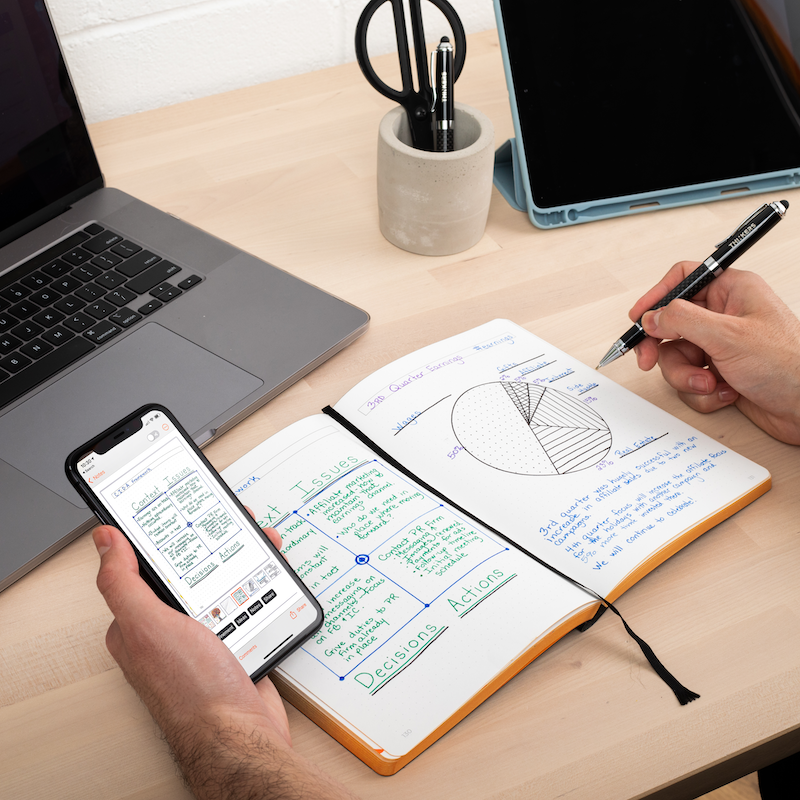 The THINKERS Notebook is a smart notebook solution for the office, home, or on the road. Combining a premium journal with an intuitive app, the THINKERS Notebook makes it easy to capture and collaborate on your best ideas.