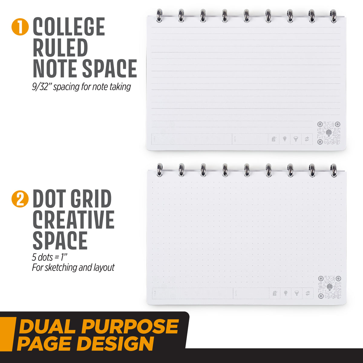 College ruled and grid layout in the THINKERS Notebook