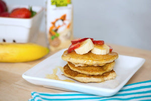 Organic Banana Pancakes with Fresh Strawberries