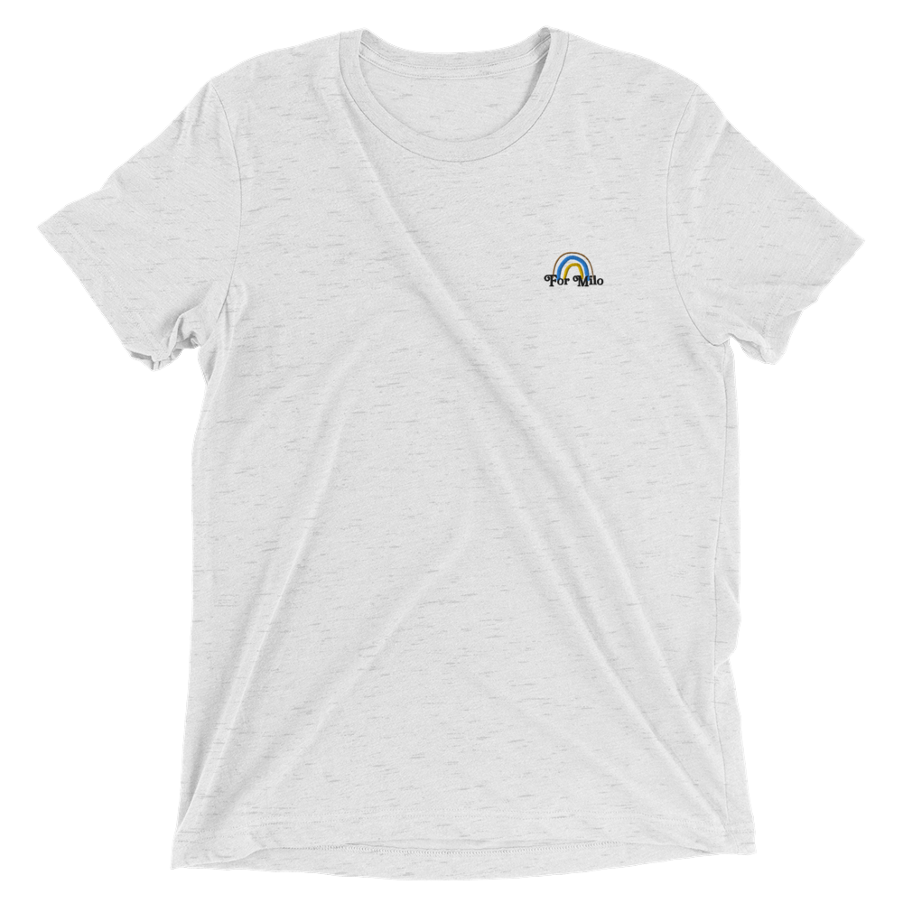 Adult Unisex Embroidered Heather White Tee