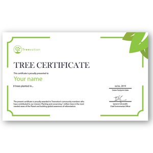 8 Trees Planting Certificate