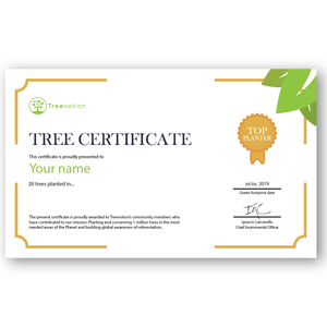 20 Trees Planting Certificate