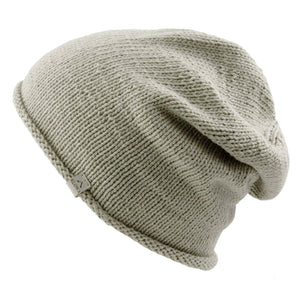 Sideview Kéwkʷu slouch hat in sage colour on white isolated backdrop
