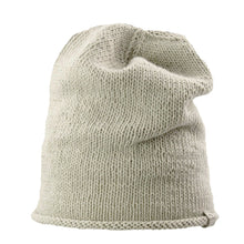 Load image into Gallery viewer, Front view Kéwkʷu slouch hat in sage colour on white isolated backdrop