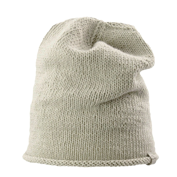 Front view Kéwkʷu slouch hat in sage colour on white isolated backdrop