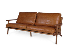 Map 3 Seat Sofa - Tan Leather
