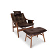 Reading Chair with Ottoman - Birch Walnut/Brown Leather